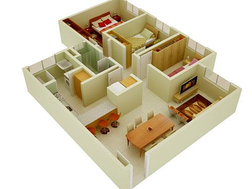 Casa em 3D desenhada