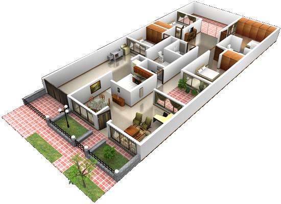 Desenho em 3D para casas