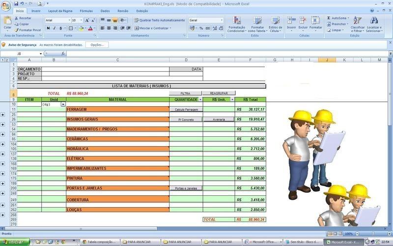 Planilhas de Construção: Modelos, Dicas