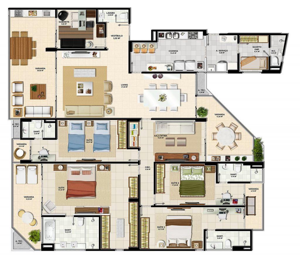 Planta com casa com 5 quartos