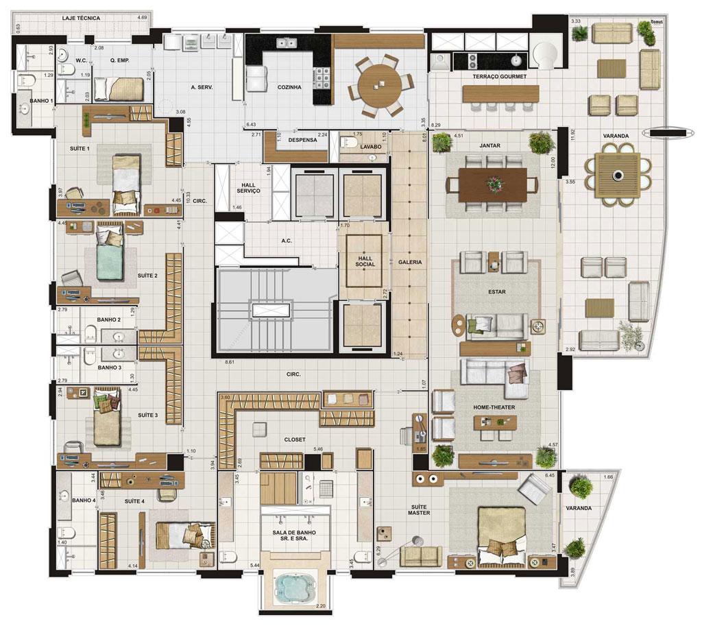 5 modelos de plantas com 5 quartos for Casa planta ramallosa
