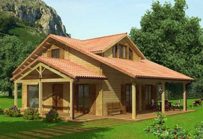 Casa de campo de madeira fachada
