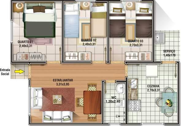 6 modelos de plantas de casas até 65m2