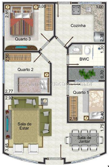 6 modelos de plantas de casas at 65m2 for H e m interno