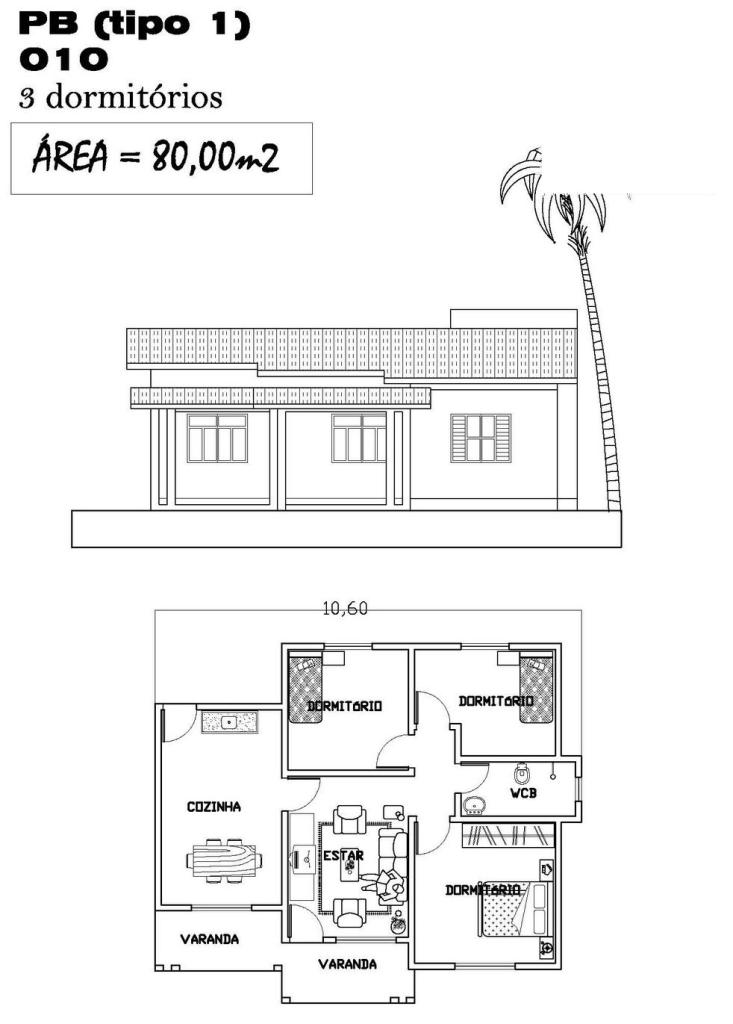 Planta de Casa com 80m2