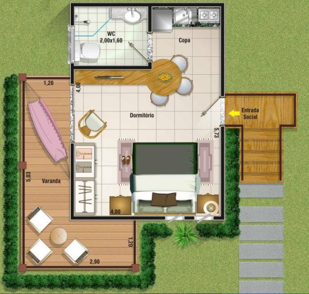3 tipos de plantas de casas até 50 m2