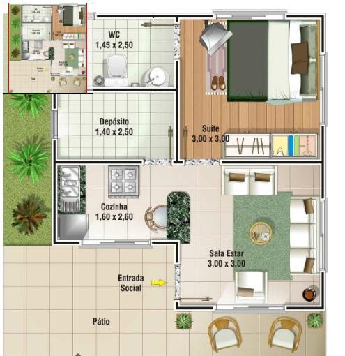 3 tipos de plantas de casas at 50 m2 for Casa moderna 60 m2