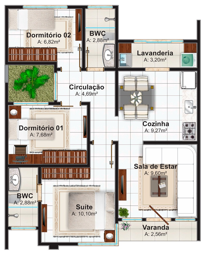 Plantas de casas at 100m2 3 modelos for Casas modernas de 80 metros