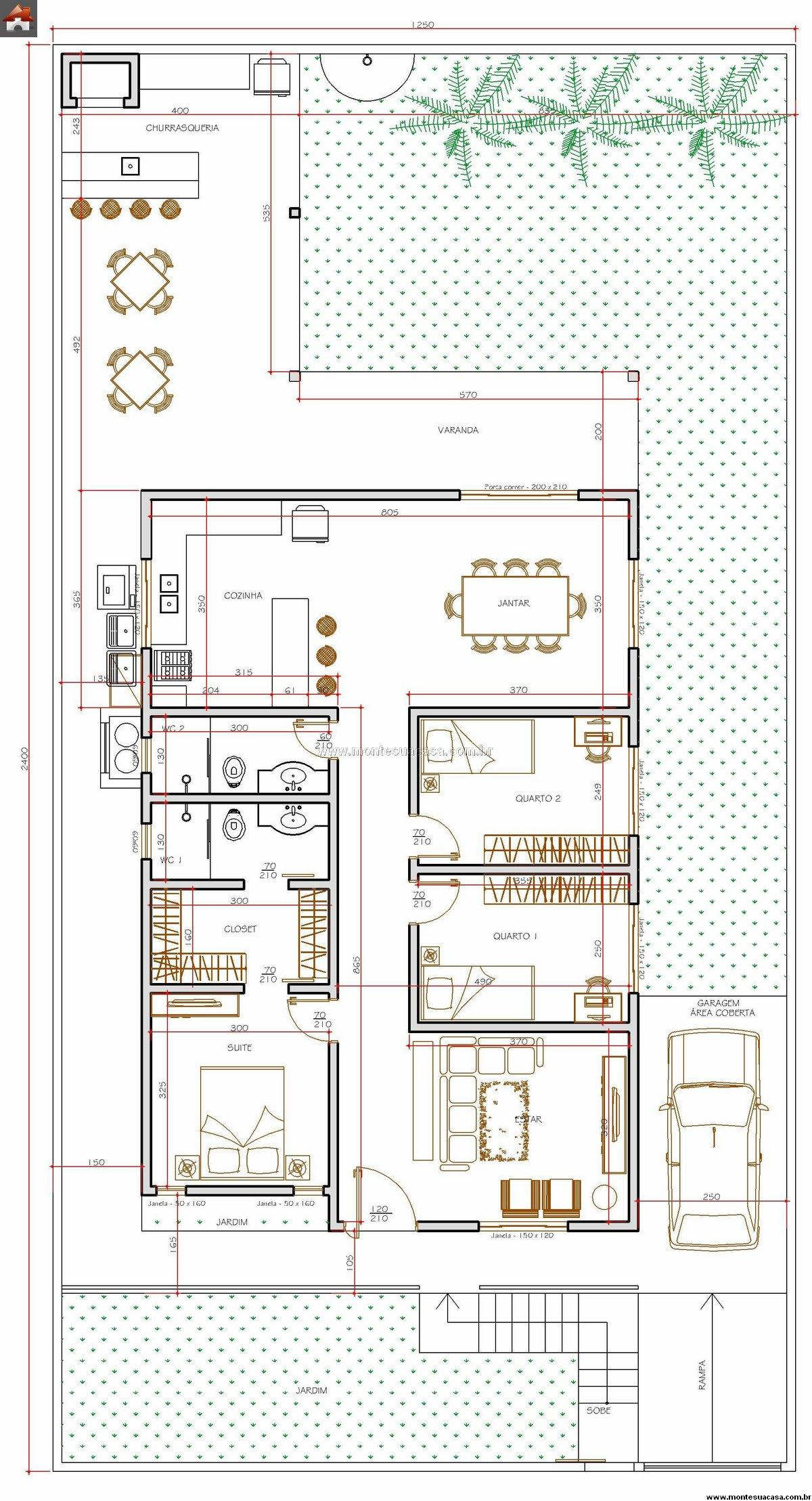 #812617 plantas de casas até 120m2 1200x2217 px Projetos De Casas Com Cozinha Nos Fundos #187 imagens