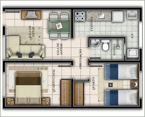 3 tipos de plantas de casas bem divididas