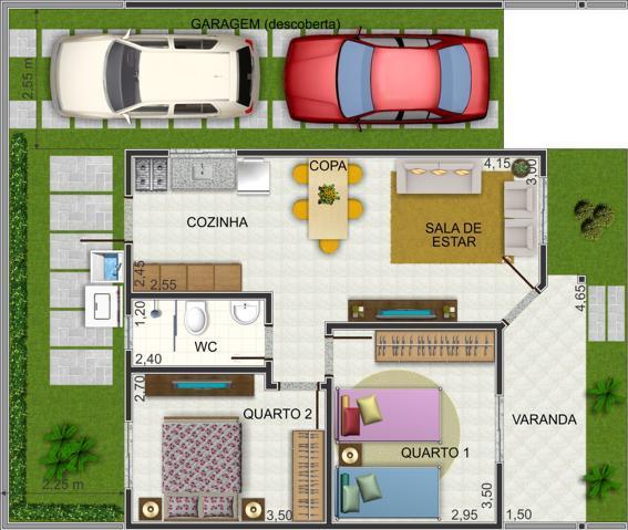 Plantas de casas at 60m2 3 modelos for Modelo de casa x dentro