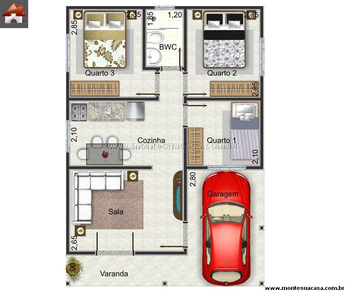 Plantas de casas at 60m2 3 modelos for Plantas arquitectonicas de casas
