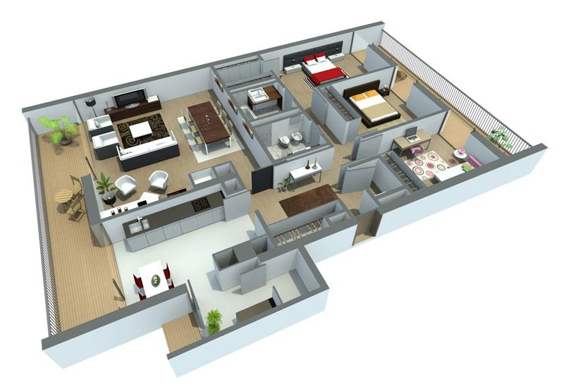 Casa em 3D planta grande