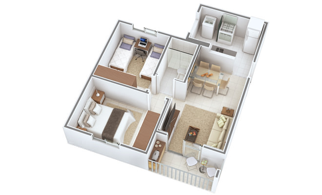 Casa em 3D planta