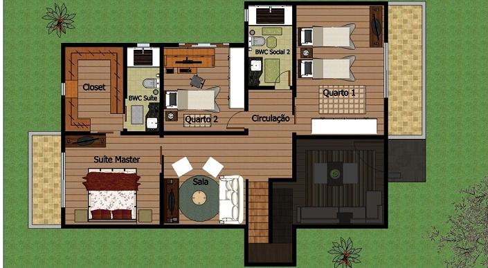15 modelos de plantas para sitios for Casa moderna 2 andares 3 quartos