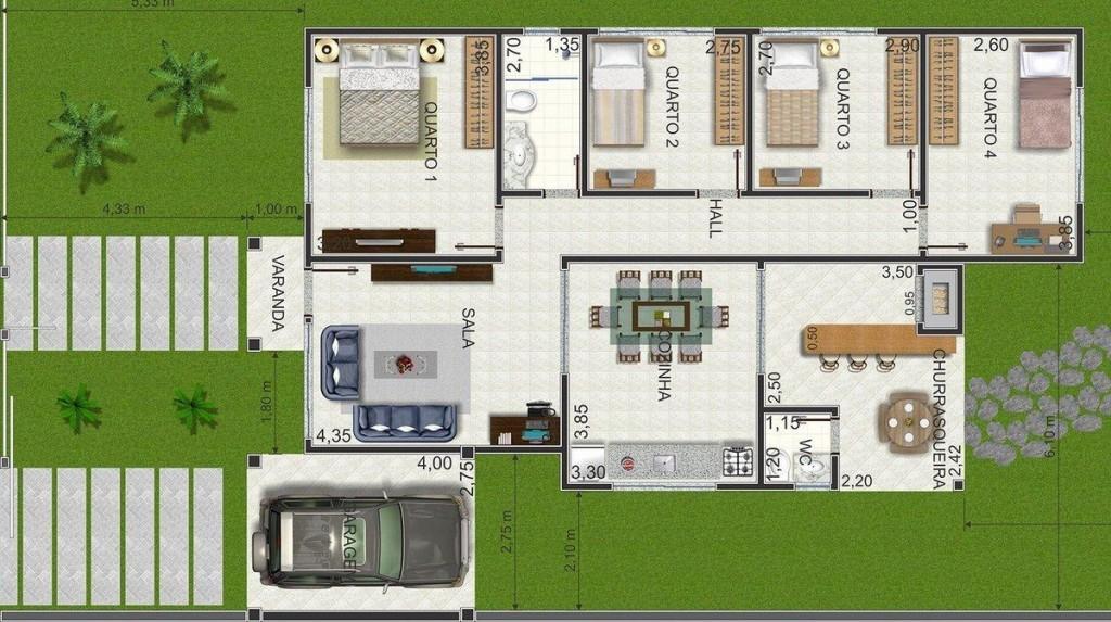 15 modelos de plantas para sitios Modelo de casa l