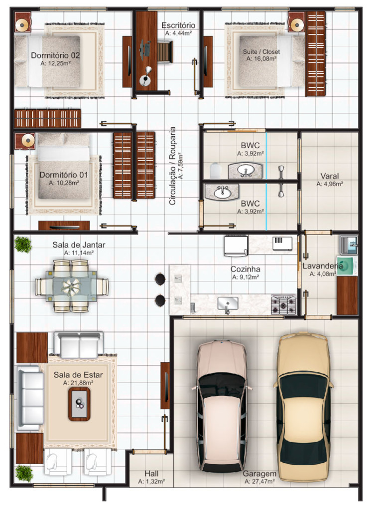 Planta de casa para construção