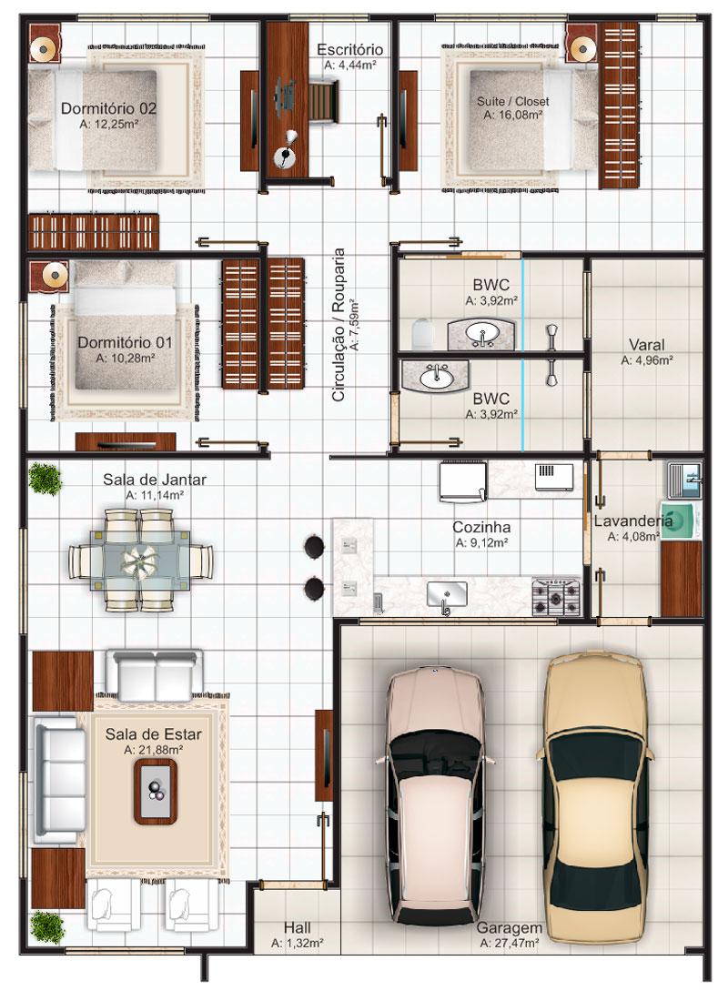 planos de casas pequenas 2d