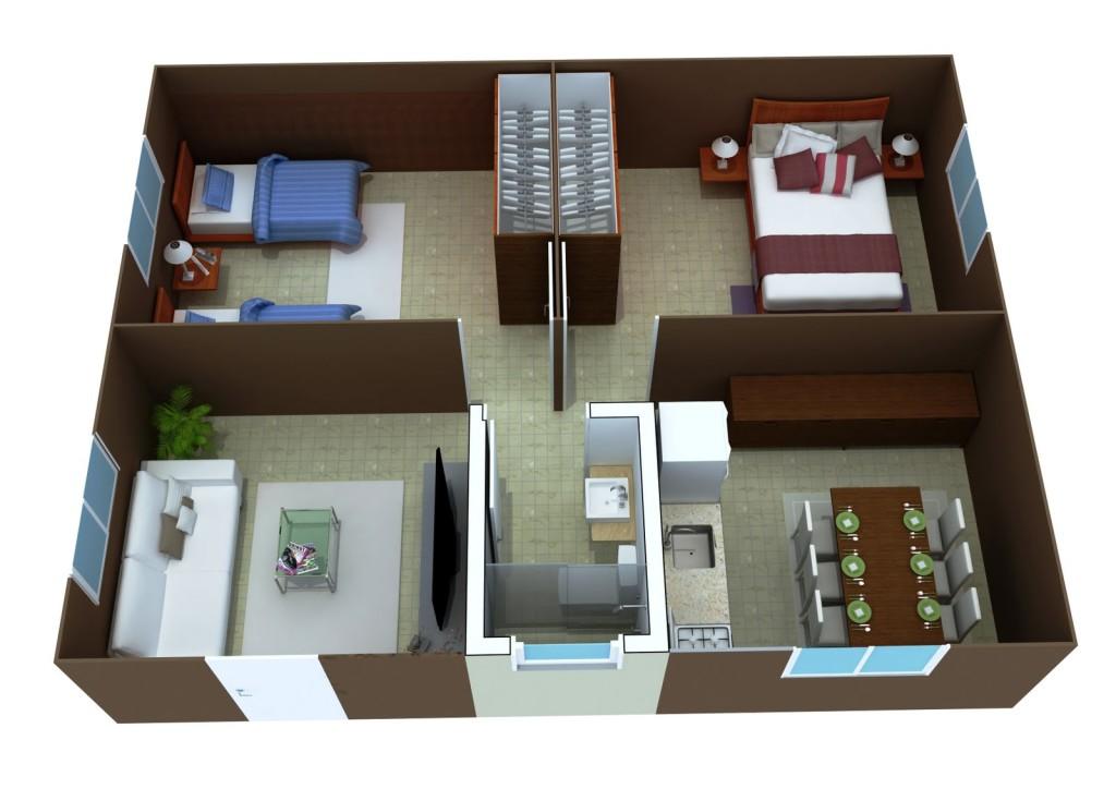 planta Casa em 3D