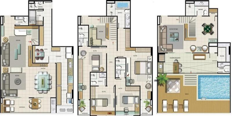 Plantas de casas Triplex: 10 modelos