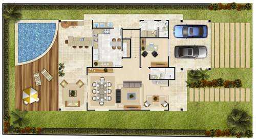7 modelos de casas de campo: Plantas
