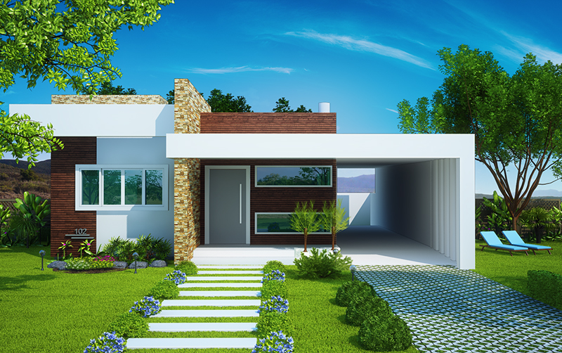 38 casas modernas para inspirar for Modelos de casas fachadas fotos
