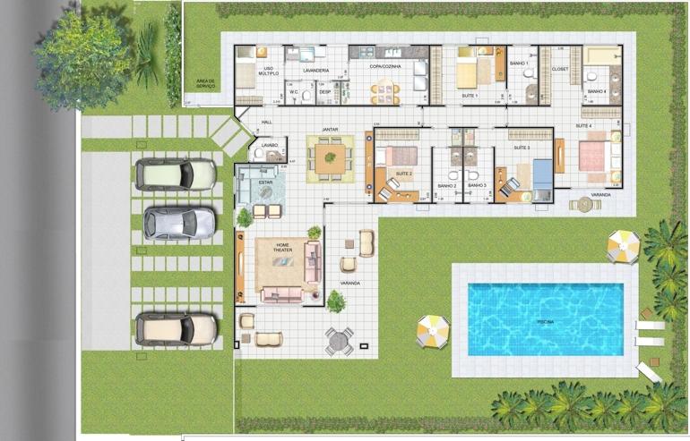 5 modelos de plantas de casas com piscina for Modelos de piscinas de campo