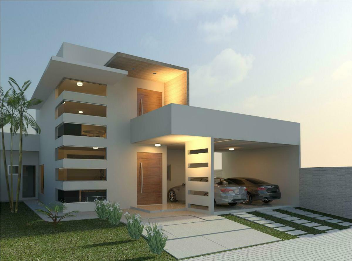 53 modelos de casas com laje for Cocheras minimalistas