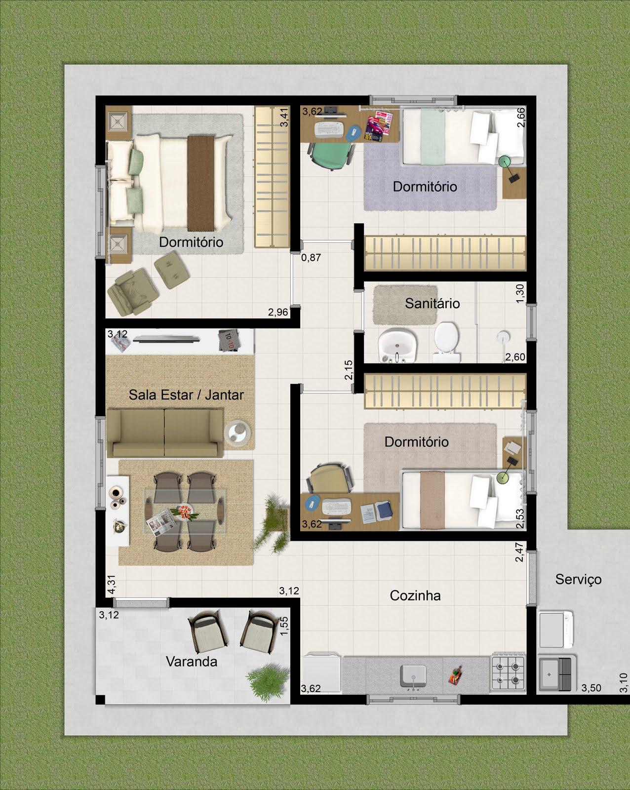 10 projetos de casas terrenas for Decoracion apartamento 100 metros