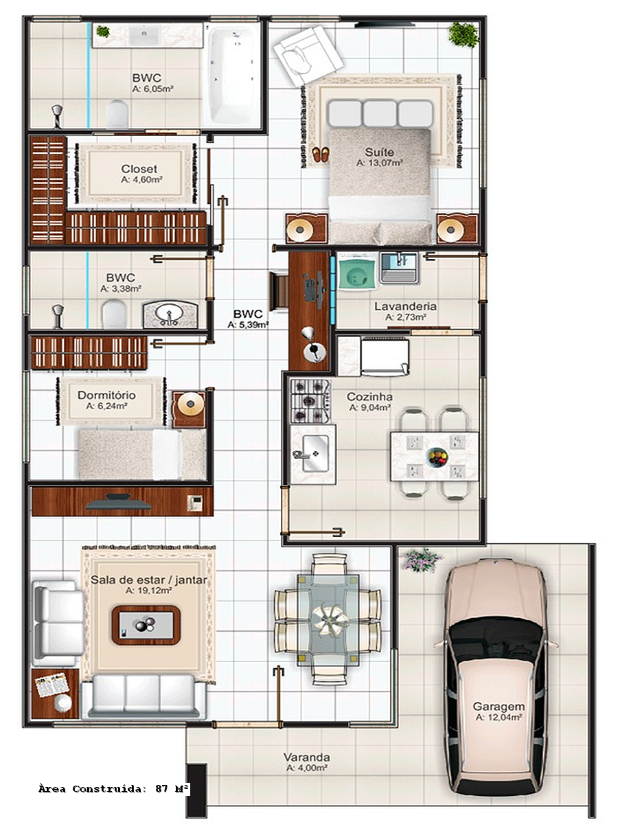 35 modelos de planta baixa para minha casa minha vida for Plantas de viviendas
