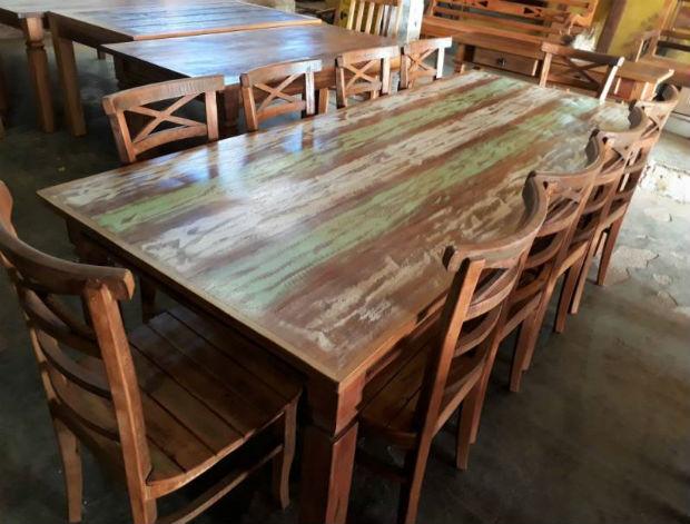 mesa de jantar madeira de demolição