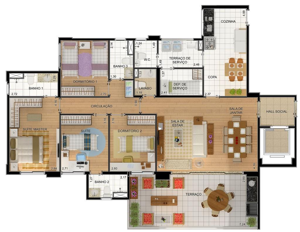 10 modelos de plantas de casas com churrasqueira for Fotos de casas modernas tipo 2