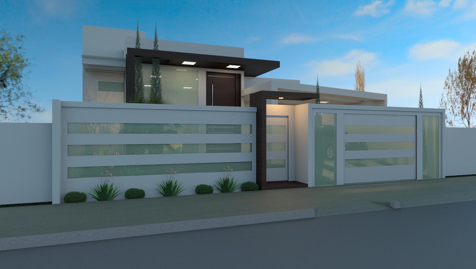 49 modelos de muros e fachadas residenciais for Modelos de fachadas modernas para casas