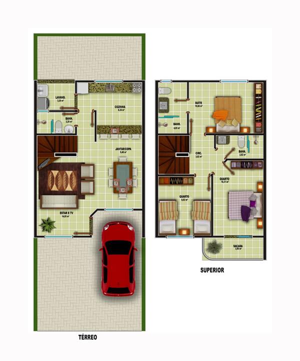 Plantas de casas com escada 15 modelos for Plantas arquitectonicas de casas