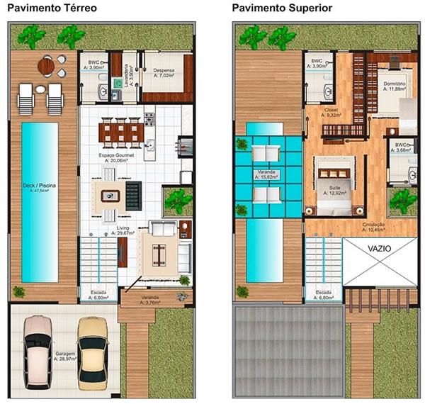 Plantas de casas com escada 15 modelos for Casa minimalista 300m2