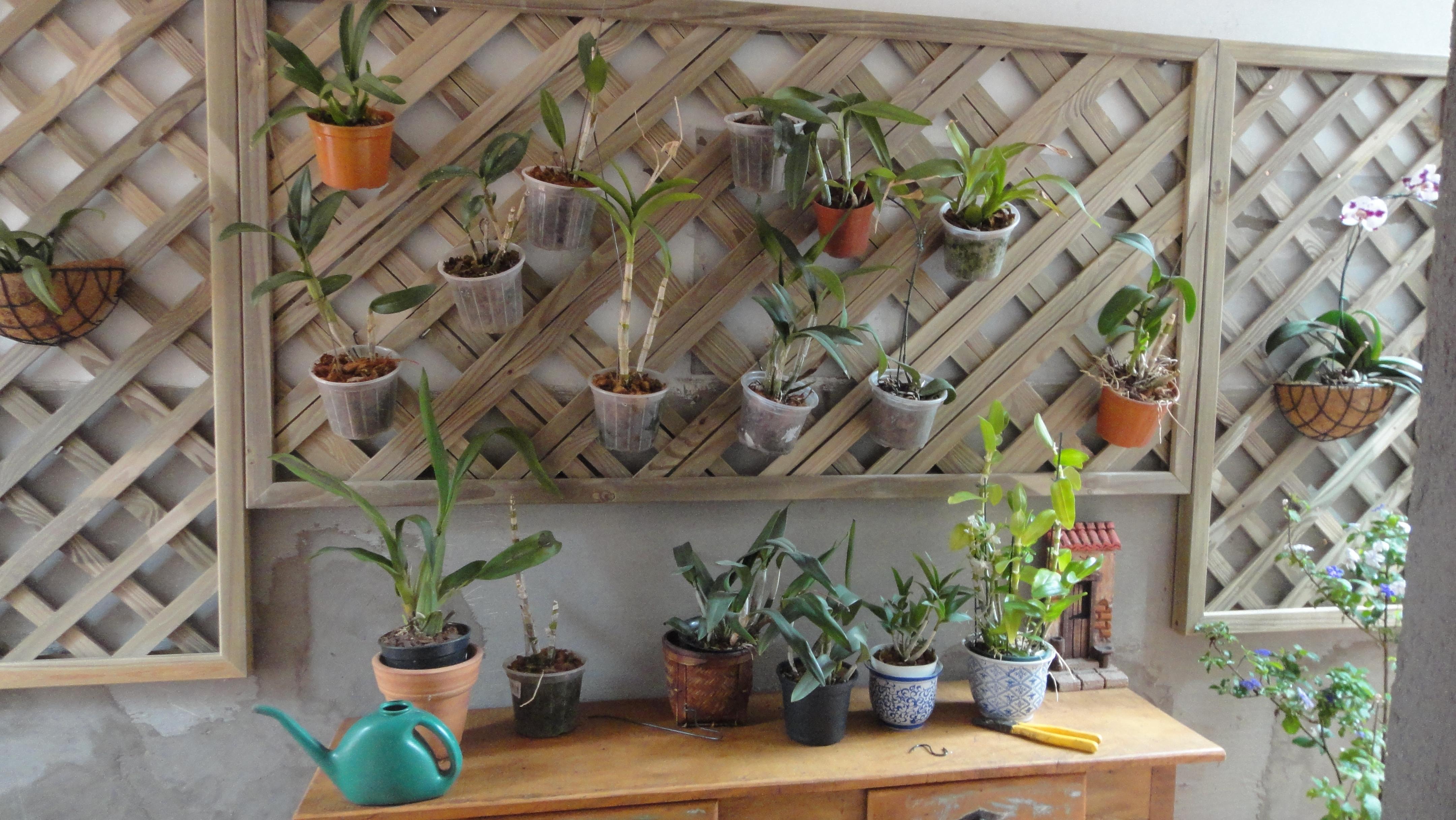 trelica jardim vertical:Treliça para pendurar placas