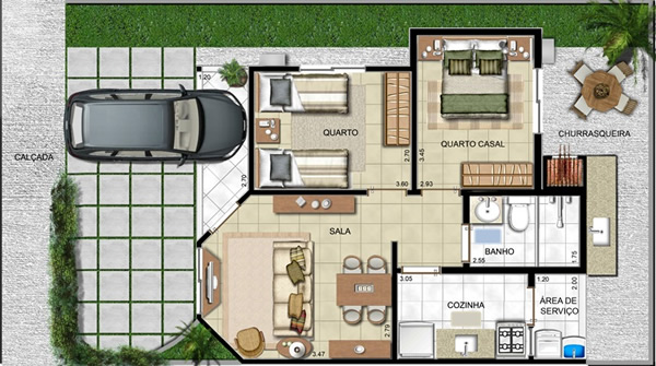 12 modelos de casas com garagem na planta. Black Bedroom Furniture Sets. Home Design Ideas