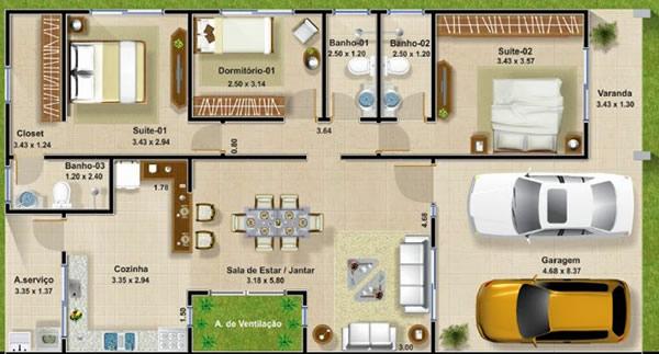 Plantas de Casas com Closet 1
