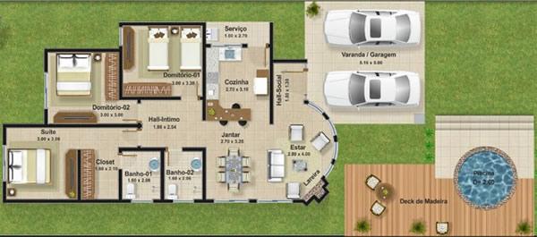 Plantas de casas com closet 6 modelos for Plantas de casas tipo 3 modernas