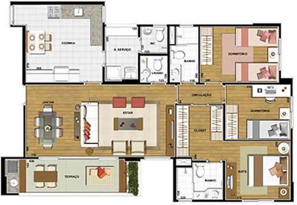Plantas de Casas com Closet 6 modelos -> Planta Baixa De Banheiro Com Banheira E Closet
