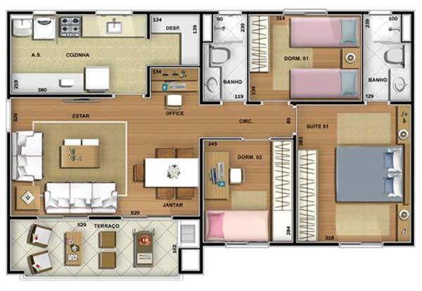 Plantas de casas com su te 600 413 casa pinterest for Houseplan com