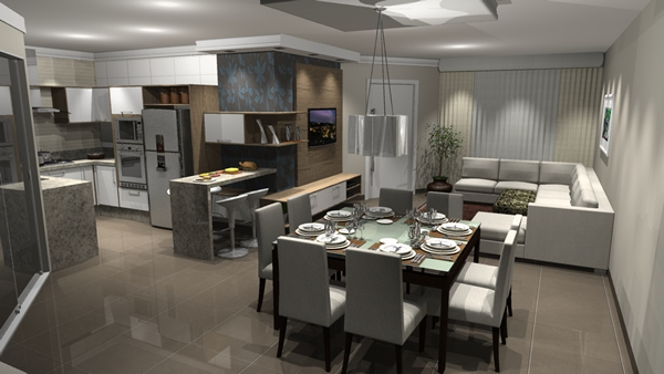 Sala e cozinha conjugada 10