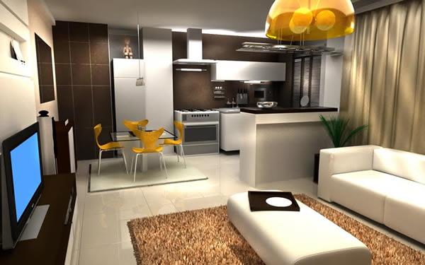 Sala e cozinha conjugada 11