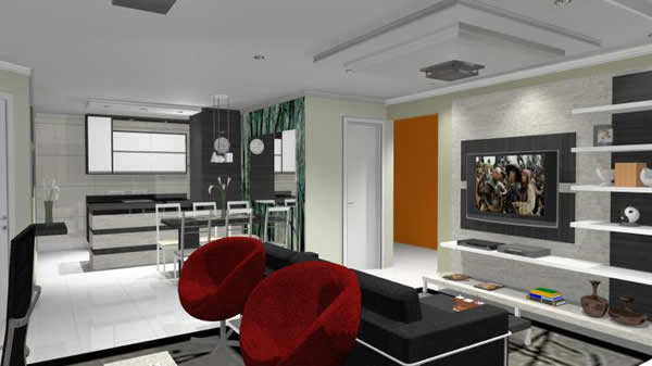 Appedclub  Sala Cozinha Conjugada # Sala E Cozinha Pequena Juntas