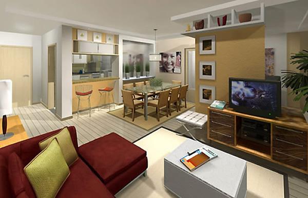 Sala e cozinha conjugada 7