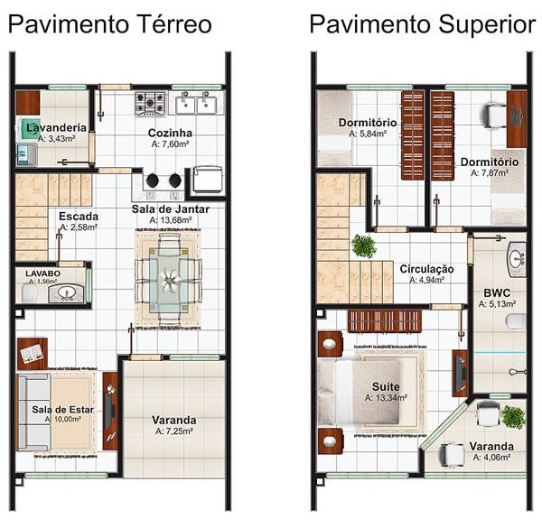 Arquivo para plantas de casas tudo constru o tudo for Casa moderna 2 andares 3 quartos