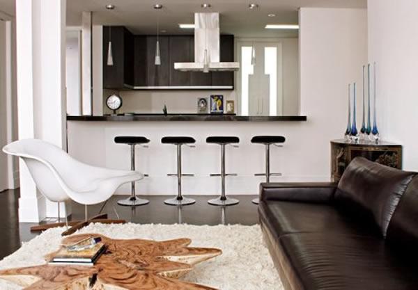 Cozinha conjugada à sala