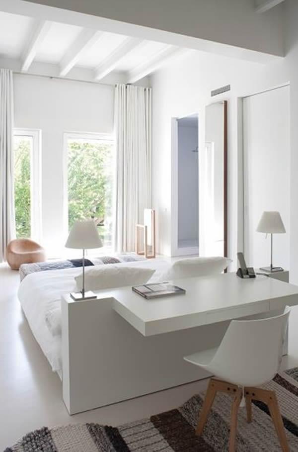 18 escrivaninhas para quartos de casal e de solteiro. Black Bedroom Furniture Sets. Home Design Ideas