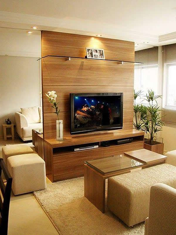 Como Decorar Sala Com Tv Na Parede ~ Sala de TV Decorada 37 modelos para inspirar
