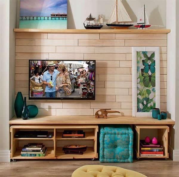 Sala De Tv Aconchegante ~ Sala de TV Decorada 37 modelos para inspirar